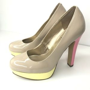 GUESS Nude Color Block Patent Leather Heels 7